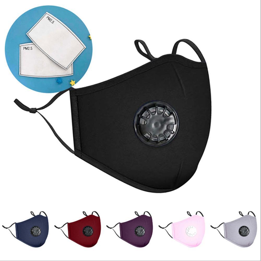 Мода против пыли маски с клапаном моющегося многоразового РМ2,5 Дыханием фильтров Защитного Рот хлопок маска респиратор анти С 2 Фильтром