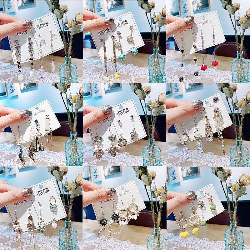 Südkorea East Gate 925 silberne Perlen-Kristallnadelkristallperlen lange Ohrringe Net rote Blätter von Angesicht zeigt dünne Ohrringe mkpOQ