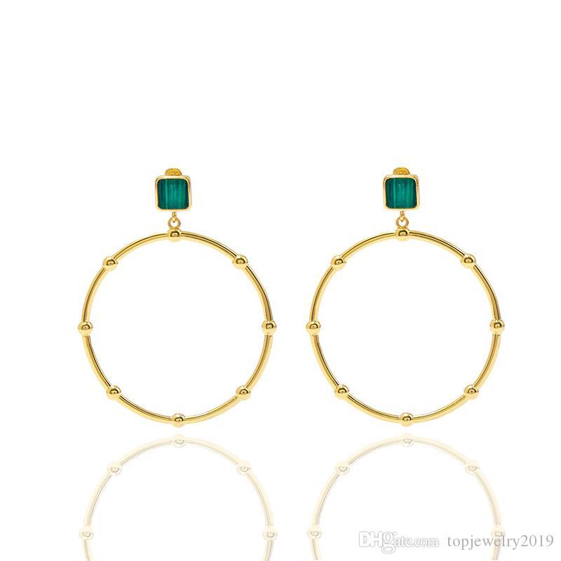 joyería de las mujeres de lujo de diseño errings oro de malaquita aro huggie ins pendientes de la manera y la cadena de joyería de diamantes de la clavícula adapte a