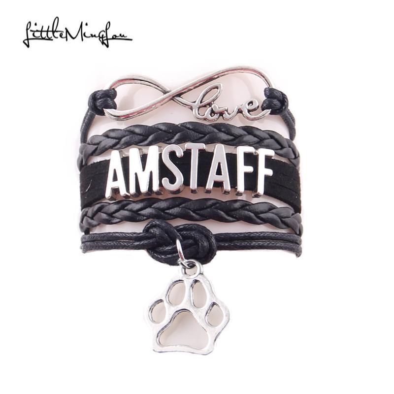 Petit Minglou amour infini amstaff hommes enveloppants en cuir de charme chien animal de compagnie bracelet bracelets bracelets pour les bijoux des femmes