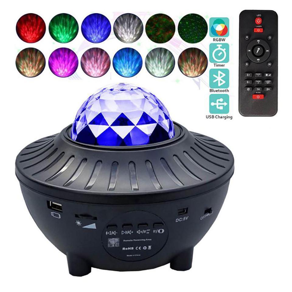 USB LED 갤럭시 프로젝터 별이 빛나는 하늘 프로젝터 램프 스타 라이트 음성 컨트롤 블루투스 음악 스피커가있는 야간 조명