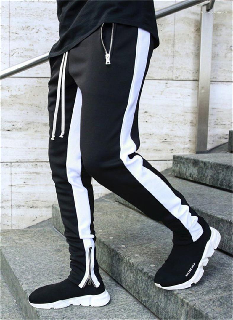 Pantalones a rayas de moda del lazo de los pantalones del lápiz con cremallera Bolsillos Mens ocasionales cintura largo para hombre de mediana Pantalones diseñador