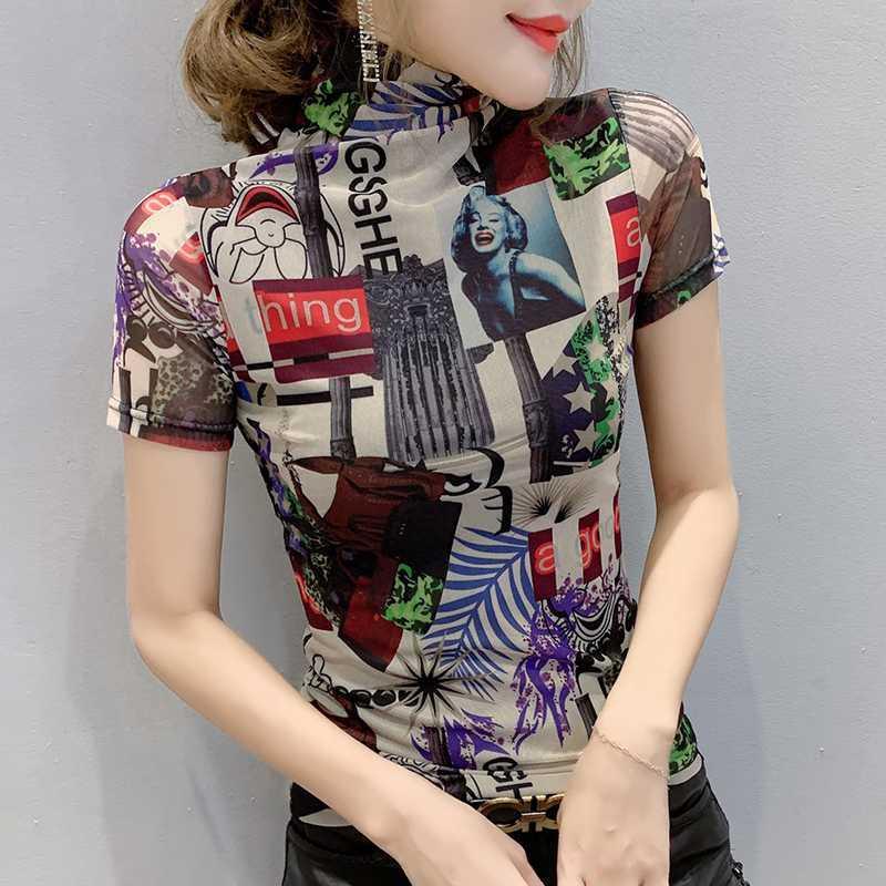 2020 Новая Летняя мода Mesh Sexy Водолазка печати футболки Женщины Топы Европы Одежда Ropa Mujer основывая рубашки Тис T01007