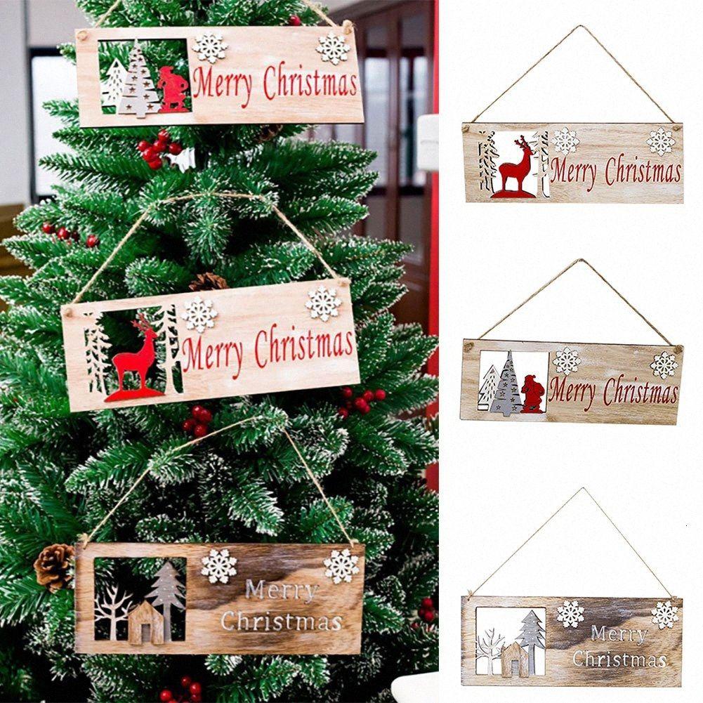 Porta Praça do Natal que pendura pintado Xmas Tree Pingente de madeira da árvore oca enfeite pendurado pingente Decoração de Natal Decorati qicB #