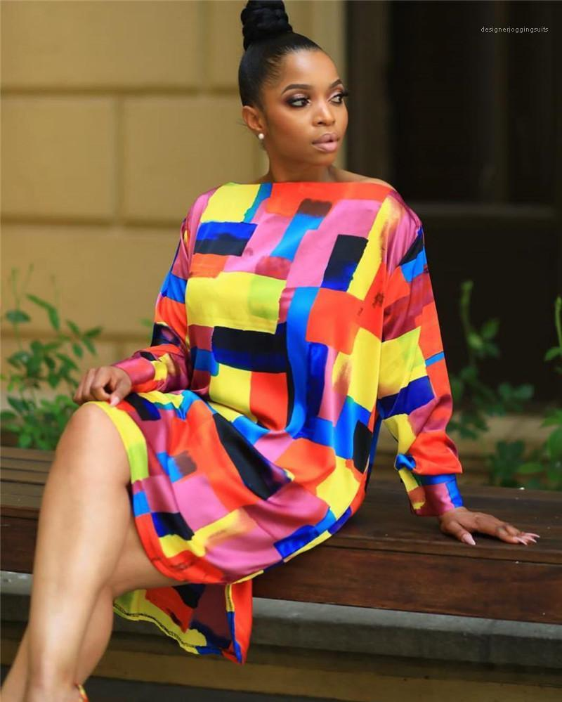 Vestidos de diseño a cuadros sueltos dreeses casual de cuello redondo de manga larga de colores más el tamaño de vestidos Ropa Mujeres