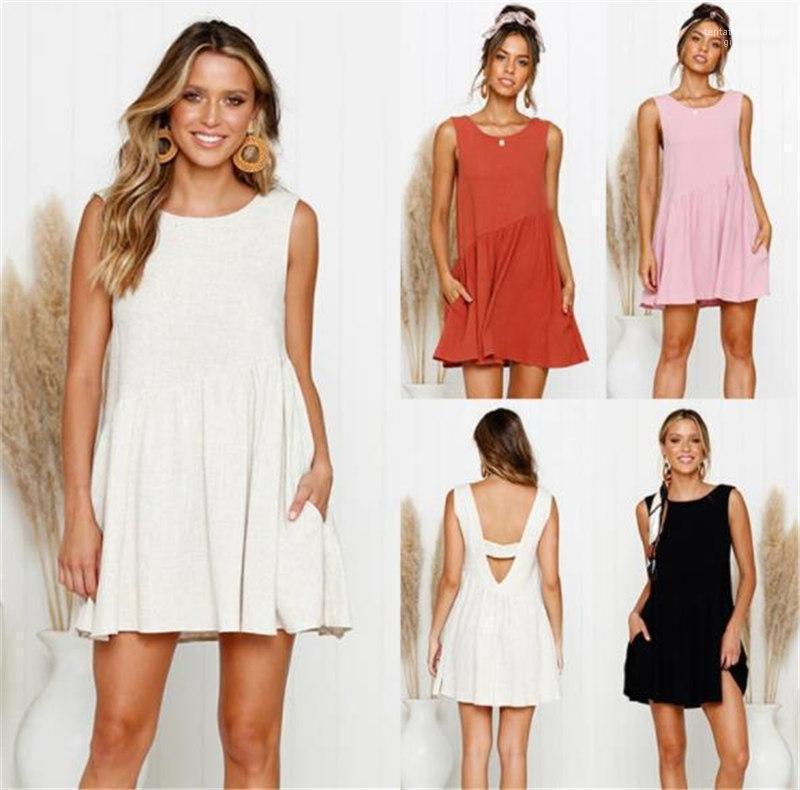 والنمط الأمريكي الملابس النسائية الصلبة اللون للمرأة فساتين قصيرة البلوز أكمام فساتين الأوروبي