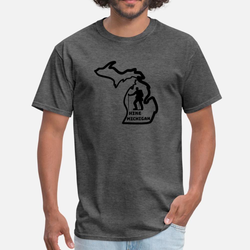 Yürüyüş Michigan Serin Michigan Kıyafet t gömlek erkekler tişört Ç Boyun Yenilik Fit Komik Casual İlkbahar Sonbahar Resimleri gömlek Tasarımları keşfedin