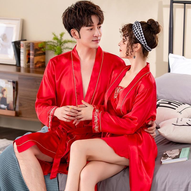 Nouvelle chemise de nuit de mariage rouge pour les hommes de nuit de couple et des femmes matin Simulation pyjamas peignoir pyjama robe imitation de bain à manches longues soie