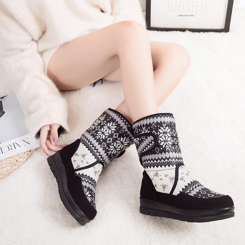 Mulheres Botas Moda calçados femininos mulheres neve botas Feminino Palmilha Suede Toe Impresso curto pelúcia Shoes Zapatos de mujer