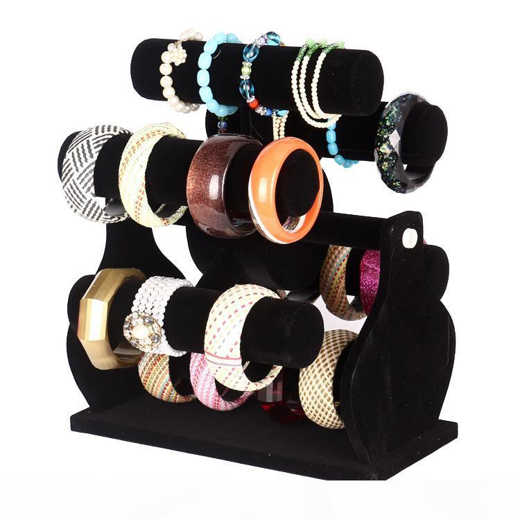 Six-Layer-Rotating Black Velvet Windmill-Uhrenarmband-Armband-Storage Rack-Halter Schmuck Display-Ständer Schmuck Zähler Showcase Requisiten