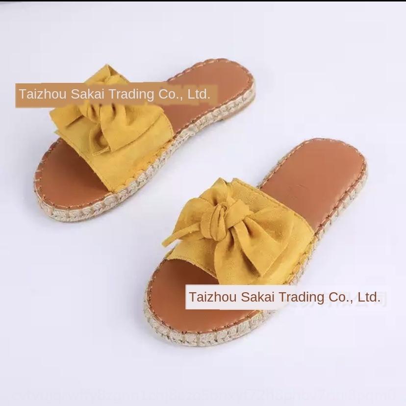 Kadın ayakkabı New'in 2020 ve kenevir sandalet halat bayan sandaletleri kenevir halat alt çiçek terlik düz Yaz pX2E9 dokuma