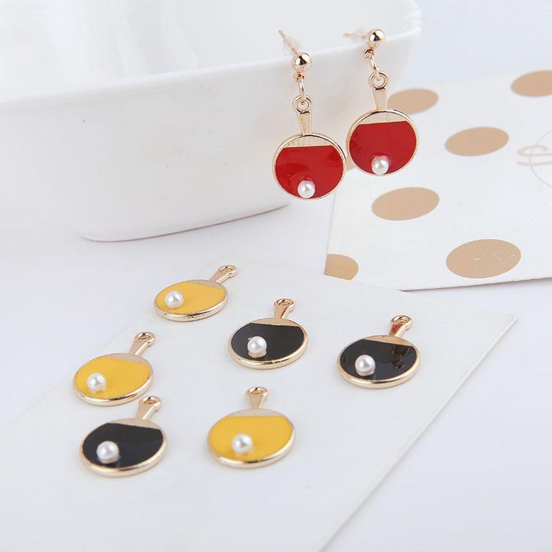 MRHUANG 10pcs / lot Tischtennisball Sport Emaille-Charme Modeschmuck Accessoires passen Ohrring DIY-Charme-Goldfarbe zu machen