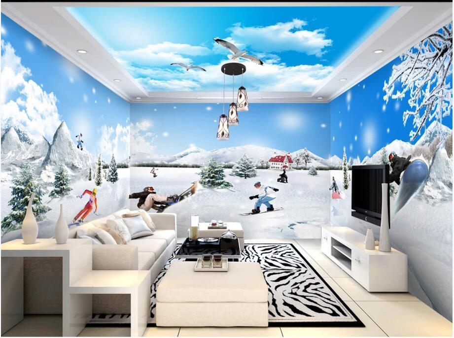 3d carta da parati personalizzata adesivi murali 3D Gletscherwelt Romantico Sci tema dello spazio Full House Parete Di Fondo moderna carta da parati foto 3D a parete