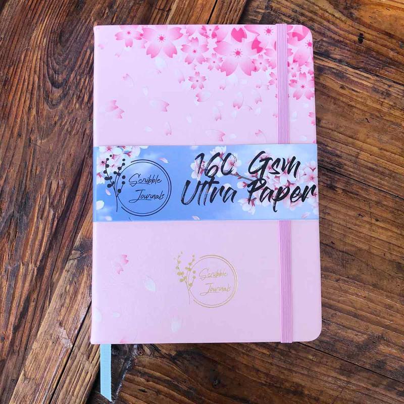 SAKURA dot grade notebook revista pontilhada rosa claro impressa e folha de carimbar na cor do ouro - papel 160gsm, bloco de desenho para idéias