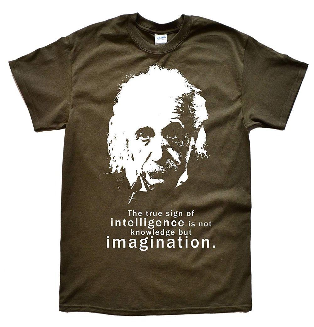 Мужчины Альберт Эйнштейн Цитата Футболка подростковая Natural Cotton Printed Человек Мода Круглый воротник Футболка Hipster Tee