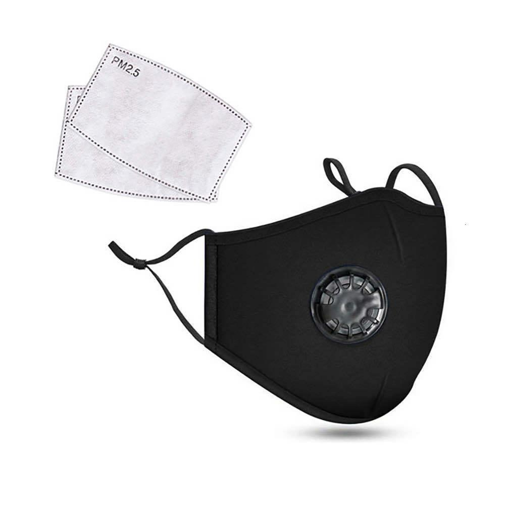 Máscaras Preto Cotton face Luxo Máscara Designer com a respiração Máscaras Nevoeiro Poeira Fábrica Poeira Válvula Anti PM2.5 direto Anti Smog