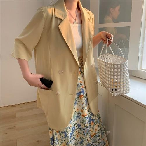 8kgCz casual Fox Small jacket women's summer Korean style thin vertical Lady suit suit sun-proof jacket loose mid-length short sleeve