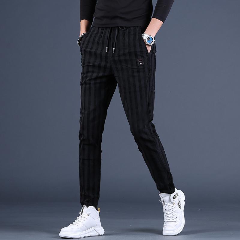 Moda Stripe Men Pants 2020 Autumn Causal cordão Mens Joggers Slim Fit Esporte Calças