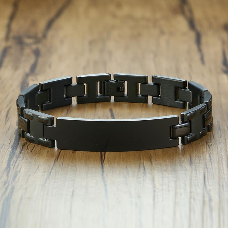Бесплатно для мужчин Black Heavy Байкер цепь браслет из нержавеющей стали оповещения ID тегов Браслет
