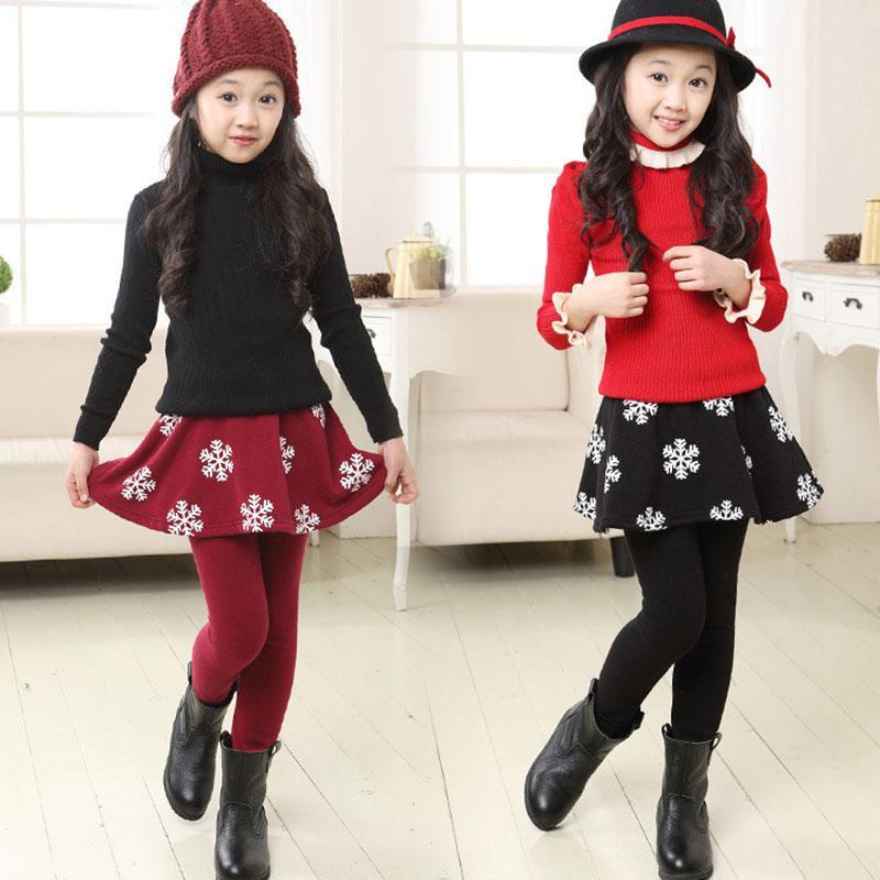 Falda de las muchachas polainas de los niños de terciopelo calientan los pantalones de las polainas de la flor de nieve de la falda-pantalones Leggin niños ropa de invierno Pantalones