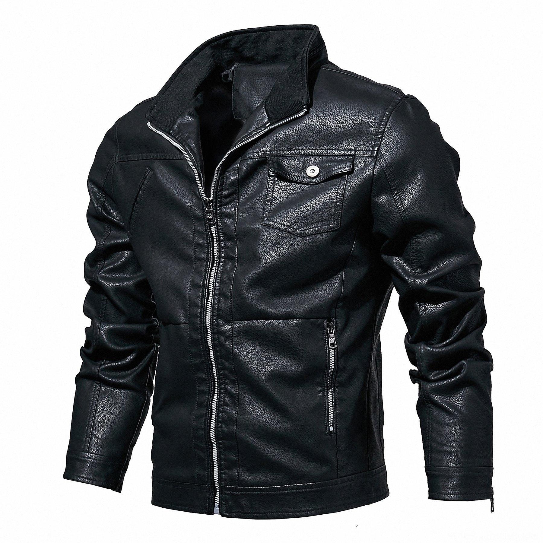 Весна и Верхняя одежда Пальто Мужская одежда осень Новый стиль Mens Кожа PU Mens однослойные кожаные куртки eKgm #