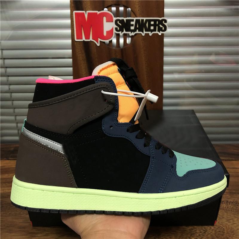 Nuovo dell'Unione Jumpman 1 1s gioventù ragazzi uomini donne Bio Hack scarpe da basket Travis Scotts Fearless Obsidian UNC fumo Scarpe Grey Mens Sport