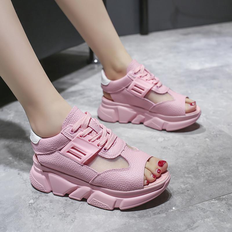 2020 yeni Leisure Kadın Sandalet Chunky Platformu Kama Yaz Ayakkabı Kadın Açık Burun Nefes Kalın Sole Casual Ayakkabı sıcak