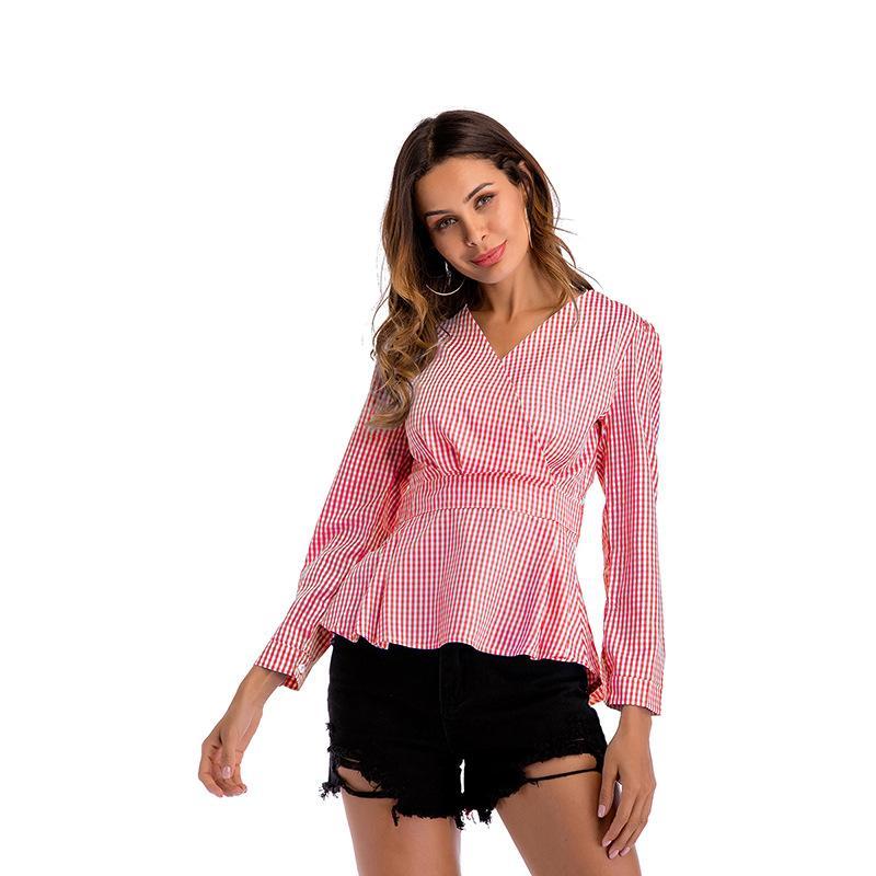 Camisas de las blusas de las mujeres Mujeres Casual Cuello en V Slim Plaid de manga larga Camisa de gasa Tops de las señoras Tops Pullover Spring Spring Blusa elegante Moda femenina