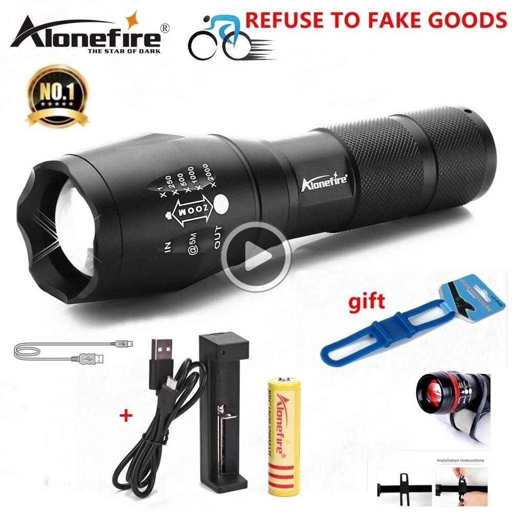 Satın Al 18650 Şarj Edilebilir Batarya AAA Için AloneFire E17 G700 XM L T6  5000lm Bisiklet Zoomable CREE LED El Feneri Torch Bisiklet Işık Lamba,  TL125.2