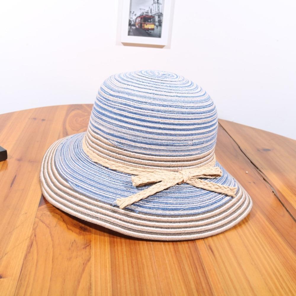 2019 de style papillon arc coton soleil coréen linge de bassin féminin de paille chapeau et chapeau de paille été protection solaire extérieur pliable jRqIs
