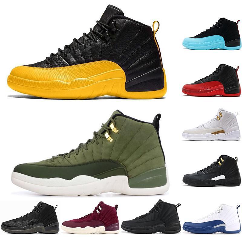 Nike AIR Jordan 12 2020 12 Pierre Université or bleu inverse grippe jeu noir Concord blanc Hommes Chaussures de basket-ball de 12 ans éliminatoire Français Bleu Sneakers US 7-13