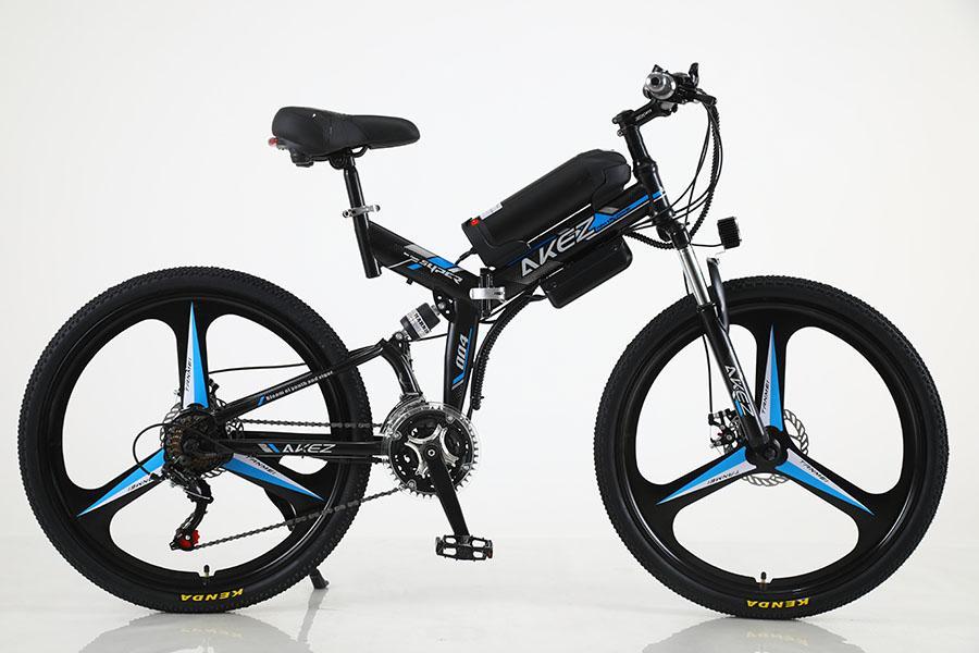 Ön ve arka çifte şok emici 26-inç 21-hızlı elektrikli bisiklet yüksek karbonlu çelik çerçeve 36V350W motorlu katlanır Dağ bisikleti