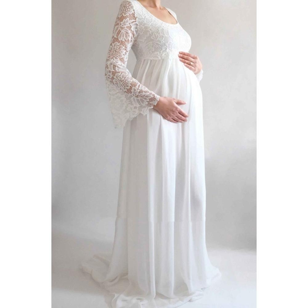 Vestido de Noiva Chiffon Wedding Dress High Waist Maternity Flare Sleeve Wedding Gowns for Pregnant Women Empire Bride Dresses
