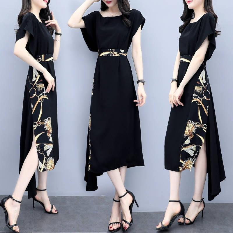 nEpQq abito lungo nuovi vestiti stampati femminile vita che dimagrisce vestito gonna allentato di lunghezza media alla moda estate 2020 di grandi dimensioni