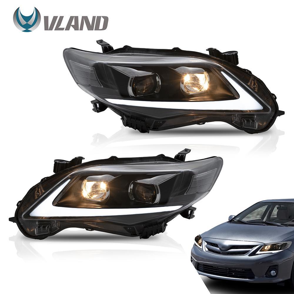 VLAND Scheinwerfer Car Assembly fit für Toyota Corolla 2011 2012 2013 Scheinwerfer Voll-LED mit DRL Blinkerlicht