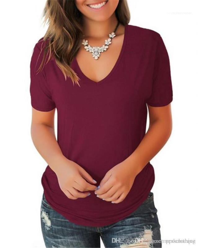 Diseñador de las señoras remata las tes femeninas color sólido cuello en V manga corta para mujer de las camisetas de verano Thin Relajado atractivo