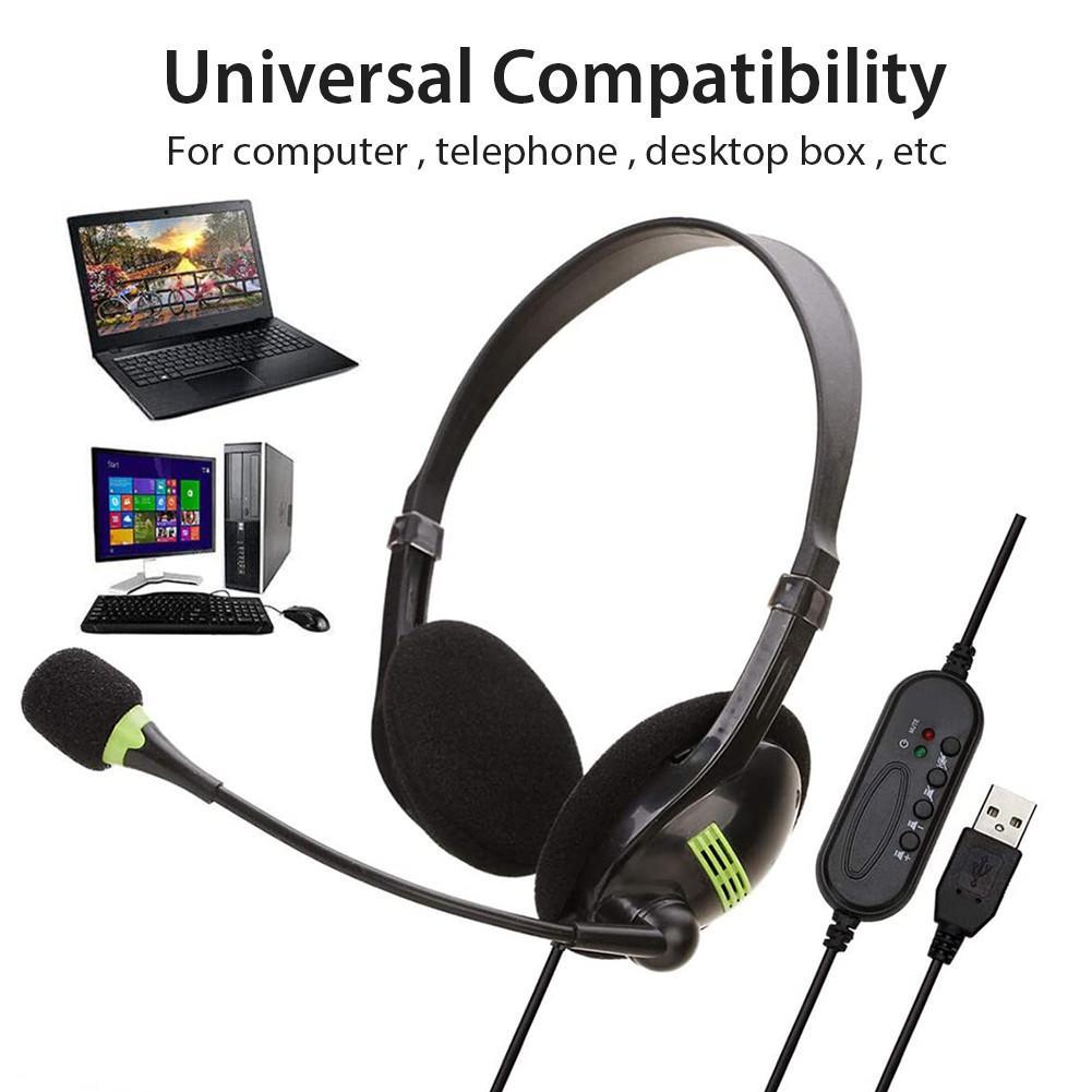 USB Headset con microfono per PC del gioco Call Center Ufficio delle cuffie USB con cancellazione del rumore Multi-Key Dual Control 3.5mm hanno fissato le cuffie