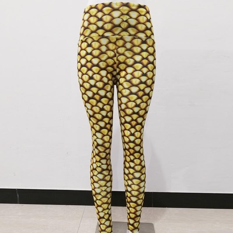 L97Rf Golden fish scale digital printing fit slim high waist tight Yoga tight pants sports yoga pants leggings