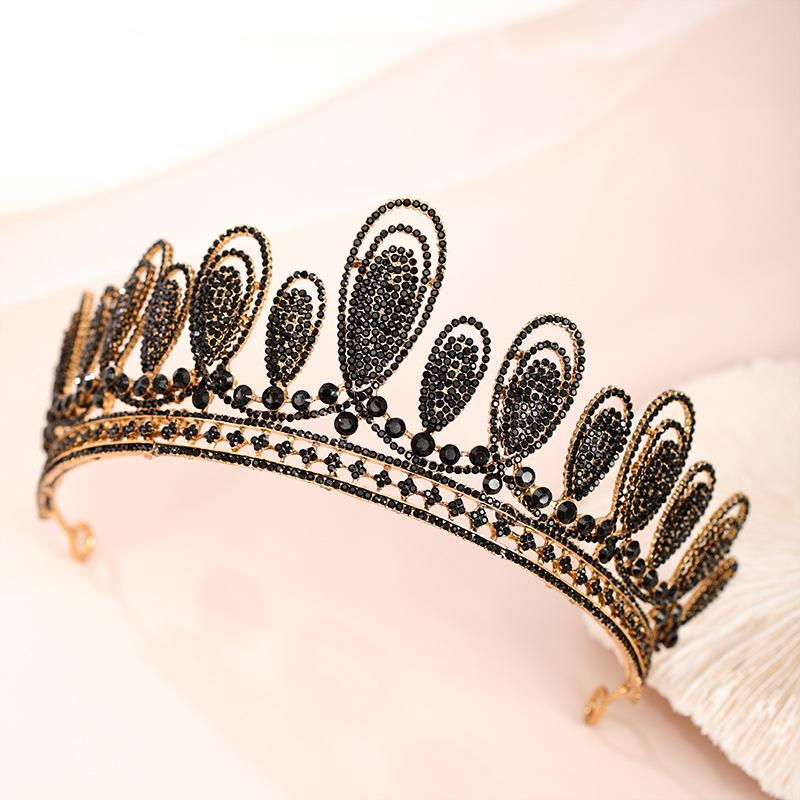 wholesale Baroque Vintage Black Red Crystal Bead Bridal Tiaras Crown Rhinestone Pageant Prom Veil Tiara Diadem Wedding Hair Jewelry
