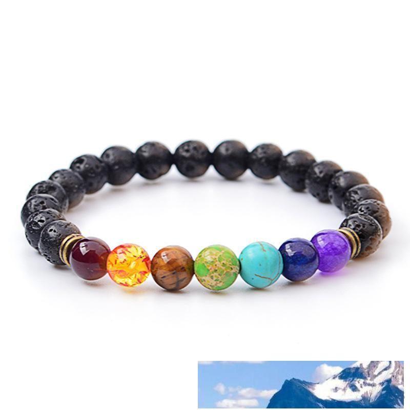 Bracciale Turchese Bangles vendita lava Beads rilievo roccia Bracciali Moda naturale della pietra dei monili di fascino Punk7 Colore di pietra polsini Per Charms