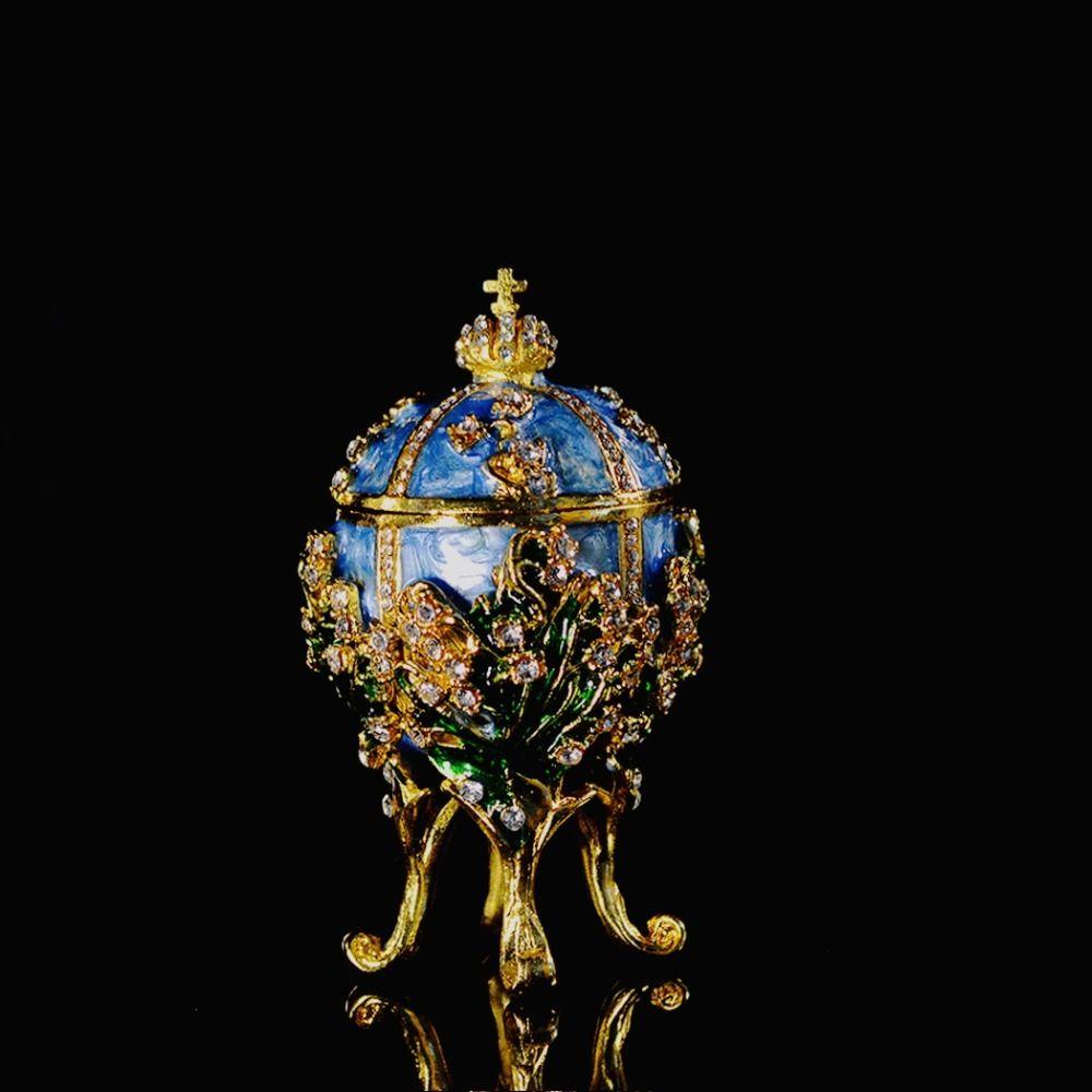 Qifu Metallhandwerk Kleine Faberge Egg Jewelry Box Home Decor MX200810