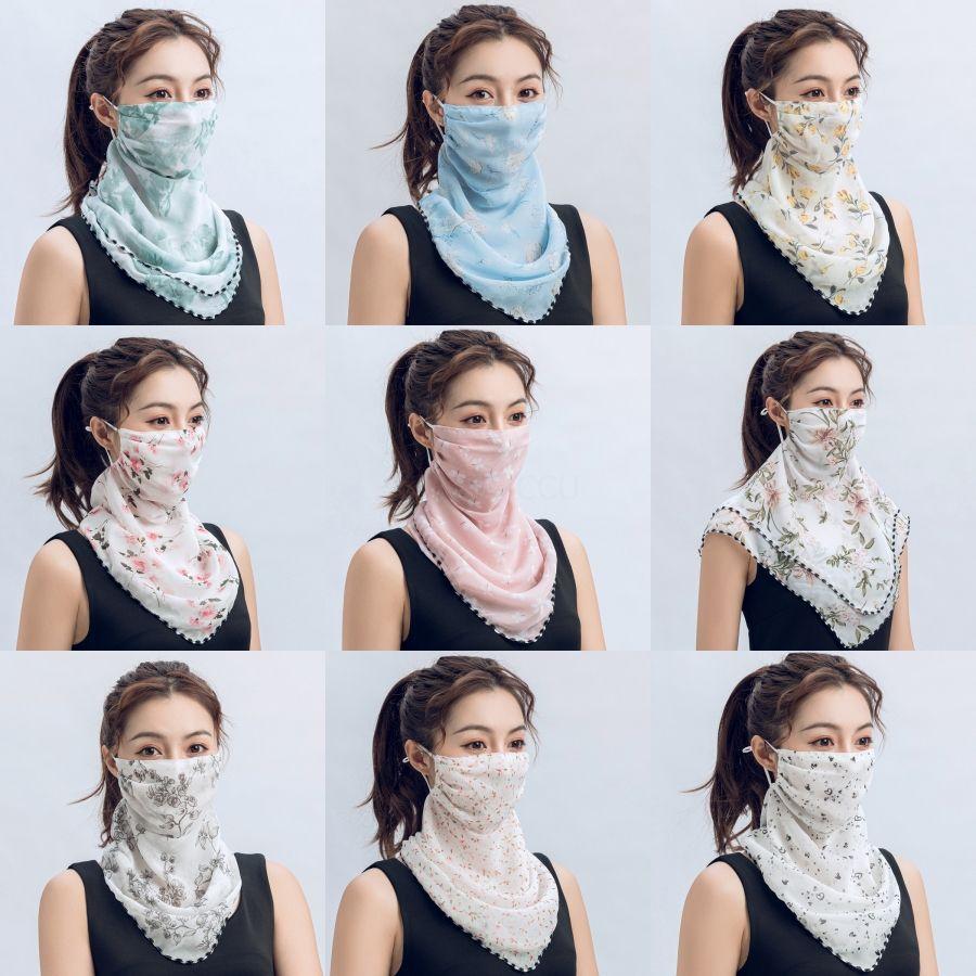 Hazır ToWomen Eşarp Yüz Maske Yaz İpek Mendil Açık Windproof Yüz Toz Korumalı Güneşlik Maskeler Toptan # 507