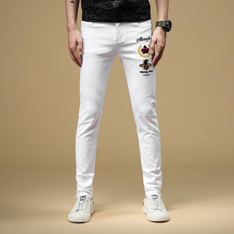 dos homens novos de abelhas branca stretch e calça jeans bordados marca de moda jeans slim bordados calças tornozelo dos homens