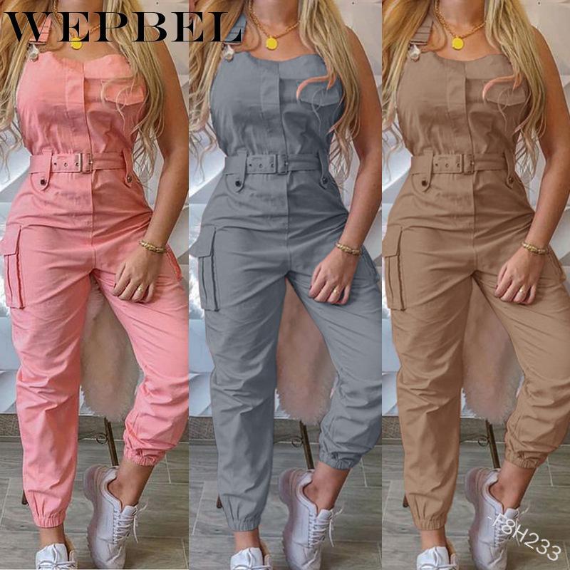 WEPBEL Mulheres Casual Carga Playsuit mangas O Neck Jumpsuit com bolso e cinto de lápis elegante Calças Macacões
