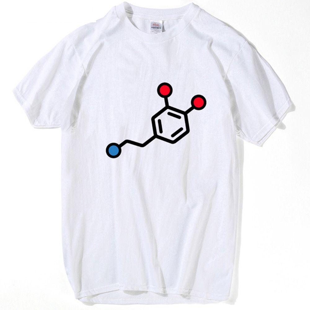 T-shirt do pescoço Men Fórmula T dopamina The Chemical shirt New Style Skate T-shirts Unisex Ciência Anormal Homme O Hip Hop