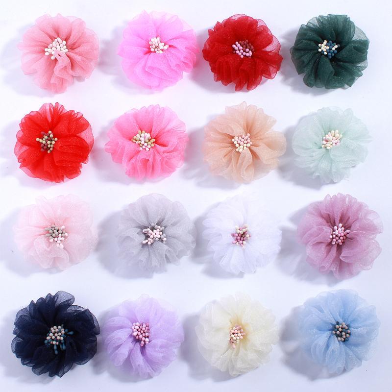 10pcs 5.5cm Moda Tül İpek Saç Çiçek ile Eş Çubuk Merkez Bitim Do Eski Kırışıklıklar Kumaş Çiçek İçin Tokalar Aksesuarları
