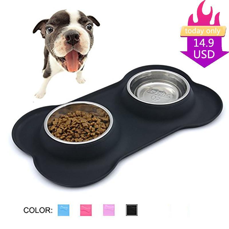 Superdesign New Steel Hundenapf With No Spill Non-Skid Silikonmatte Feeder-Tool Haustier supplie Edelstahl Katze doppelte Wasserschale