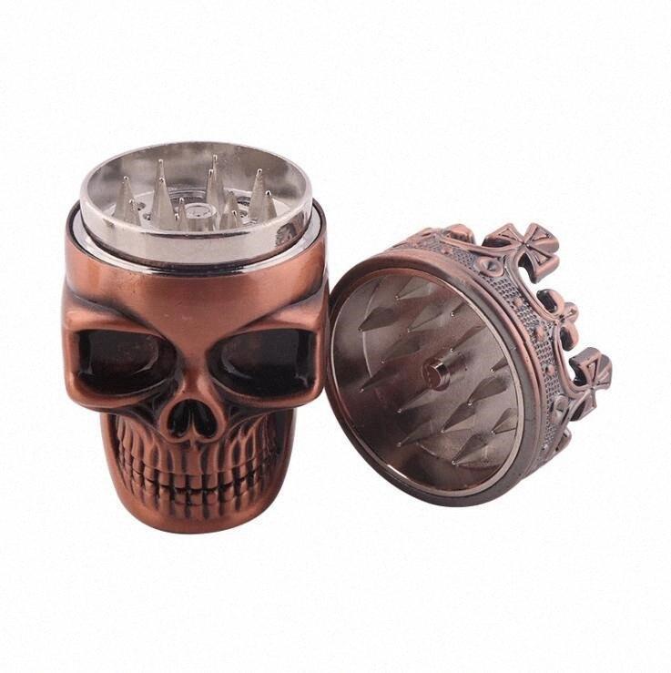 Цинковый сплав для курения Херб Grinder король Череп Стиль Металл Табак Херб Grinder 3 слоя Дробилка Tobacco мясорубки 47 * 75мм LXL1193-1 QPrJ #