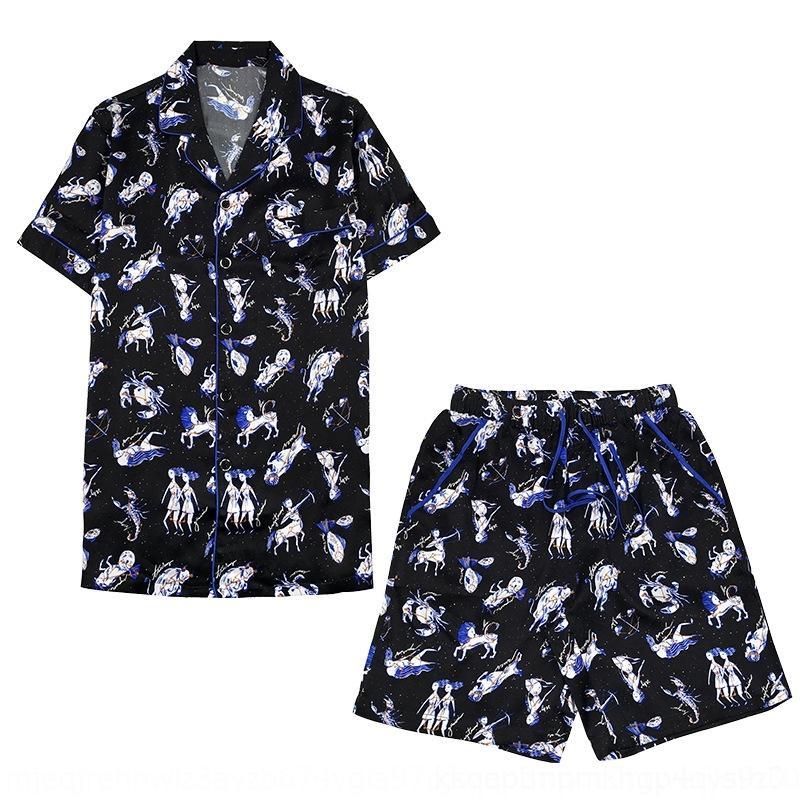 Y3wE5 constelación de estilo empuje 100 Pantalones cortos pijamas cortos de manga corta de dos piezas de seda de morera de verano al aire libre establecen seda pijamas Principal