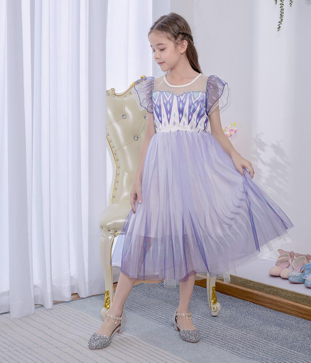Lavande filles Pageant Robes Jewel Ruffles Imprimer Wrap Une ligne fête d'anniversaire de l'enfant Robes robe de demoiselle pour le mariage En stock pas cher